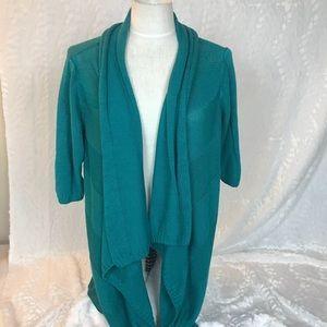 Eileen Fisher teal wrap multi length sweater Sz 1x